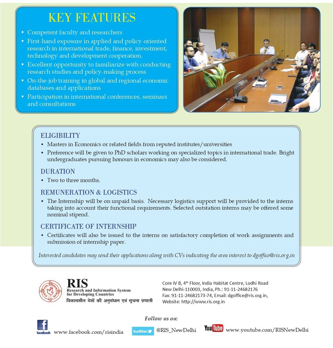 RIS Internship Programme | Research and Information System